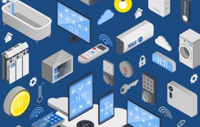 Image showing various technology devices that link to the internet (e.g. smartphones, wash machines, thermostats, etc)