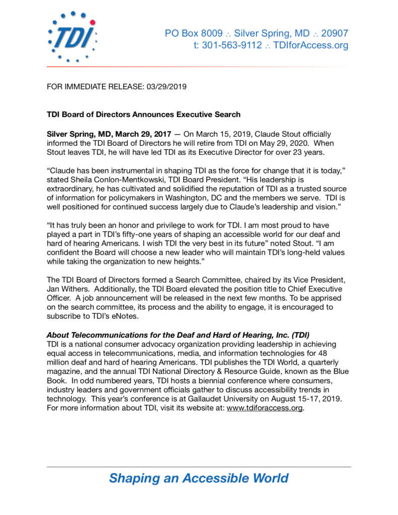 FOR IMMEDIATE RELEASE: 03/29/2019
