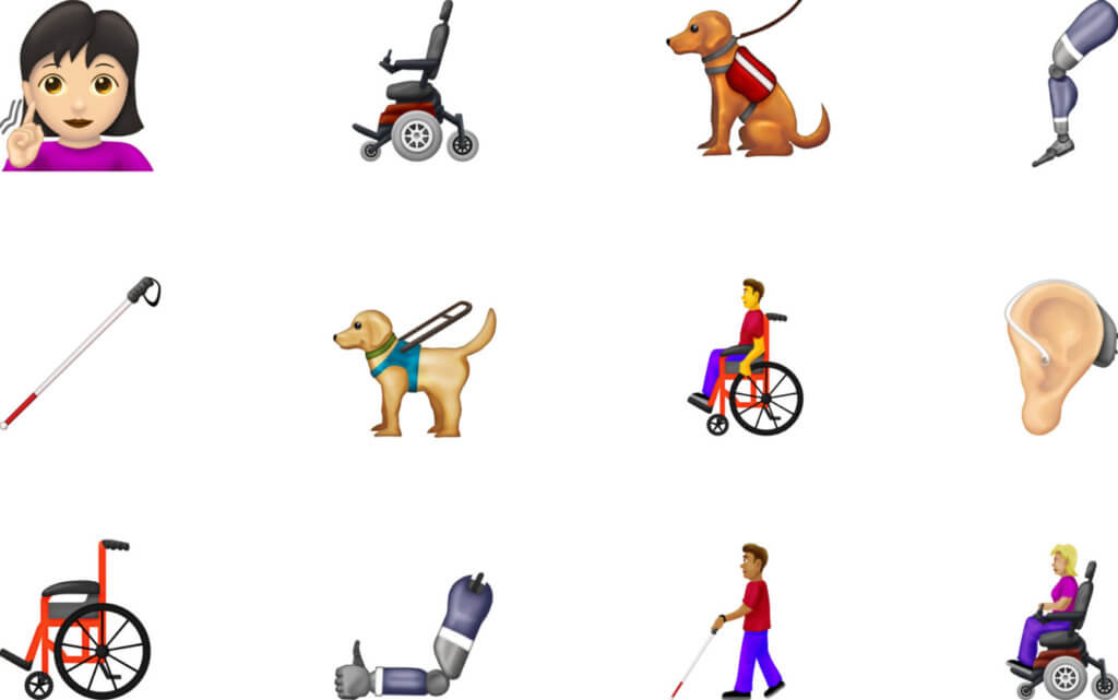 "Twelve emojis featuring: Emoji signing ""deaf"", Electric wheelchair, sitting guide dog, prosthetic leg, white cane, working guide dog, person in manual wheelchair, hearing aid, manual wheelchair, prosthetic arm, blind person walking, person in electric wheelchair."