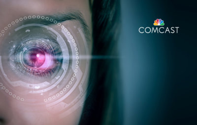 Close up of white female's eye being scanned by computer