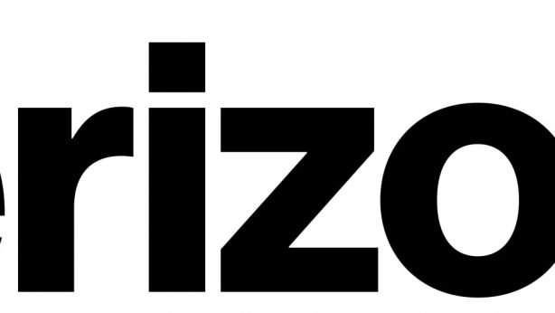 (Verizon logo) Company name in black print: VERIZON, followed by red checkmark.