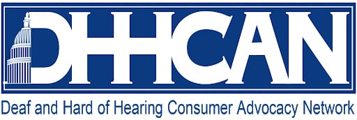 "Partial image of Capital followed by white text: ""DHHCAN"". Blue text below ""Deaf and Hard of Hearing Consumer Advocacy Network"""