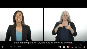 The screenshot of the video containing Jessica Rosenworcel on the left and Certified Deaf Interpreter on the left.